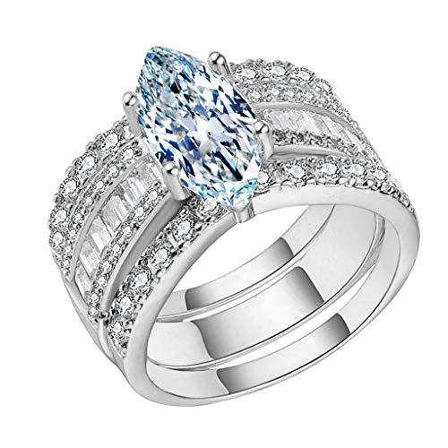 Goddesslili Large Diamond Rings for Women Girlfriend Girls Inlaid Drop Gemstone Rhinestones 3 Piece Wedding Engagement Anniversary Luxury Jewelry Gift Under 5 Dollars Size 5-11 (Silver, 9)