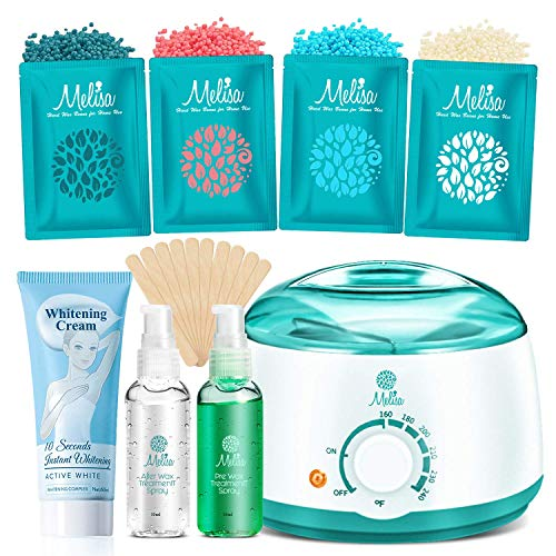 2020 Modle Waxing kit for Armpits, Intimate Parts, Between Legs - Hair Removal Wax Warmer 4 Hard Wax Beans 20 Wax Applicator, Waxing Kit for Body, Eyebrows, Face, Bikini for Women