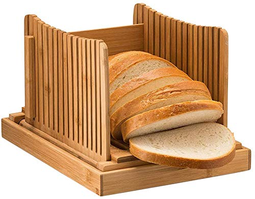 MOBJOY Bamboo Wood Foldable Bread Slicer Compact Bread Slicing Guide with Crumb Catcher Tray for Homemade Bread Thickness Adjustable