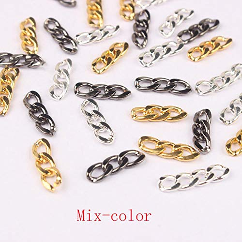Nouvelle chaîne japonaise Nail Art alliage accessoires or et argent Punk Wind chaîne plate 3 sections ornements de chaîne à ongles, couleur de mélange, 4X14mm