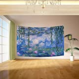 Vipsk Claude Monet Water Lilies Tapestry Wall Hanging Artistic Light-Weight Polyester Fabric Cottage Dorm Wall Art Home Decoration 60x40 inches Blue Wall Decoration