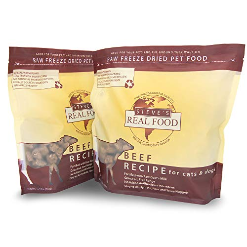 Steve's Real Food Freeze-Dried Raw Food Diet for Dogs and Cats, 2-Pack, Beef Recipe, 1.25 lbs in each bag, Made in the USA, Pour and Serve Nuggets, Grass Fed & Free Range
