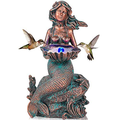 Mermaid Sitting on Rock Statue Decorations Animals Bird Bath Feeder Garden Statue Light Up Figurines Princess Ornament…