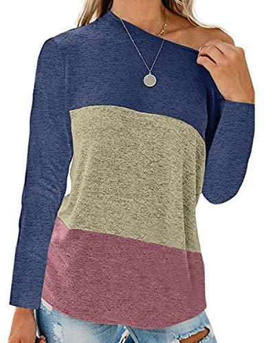 kenoce - Camiseta de manga larga para mujer, informal, para otoño e invierno, azul, L