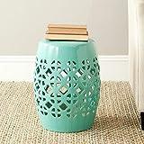 Safavieh Circle Lattice Ceramic Decorative Garden Stool, Robin's Egg Blue