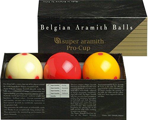 Aramith 61,5 mm Super Armith Pro Cup Carom/Carambole Billardkugeln, 3 Bälle Komplettset