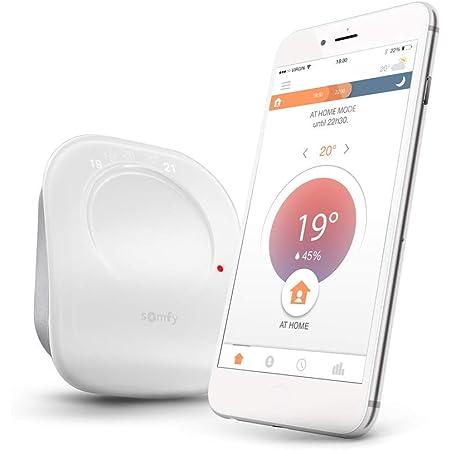 Somfy 2401498 Termostato cableado conectado, digital Wifi, controla tu calefacción desde el móvil, compatible con Alexa, Google Home y Tahoma, Blanco
