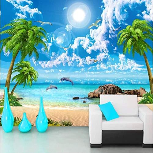 ZHEN WALLPAPER Seascape Coconut Tree Beach Poster Wandmalerei 3D-Fototapete für Schlafzimmer Wohnzimmer Sofa TV Hintergrundwand 200cmx140cm(78.7x55.1inch)