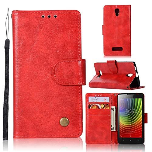 RONGCHAO Tasche für Mobiltelefon for Lenovo A2010 Retro Kupfer Knopf Crazy Horse Horizontal Flip PU-Leder-Kasten mit Halter und Card Slots und Wallet und Lanyard (weinrot) Shell Cover (Farbe : Red)