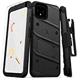 ZIZO Bolt Series Google Pixel 4 Case | Heavy-Duty Military-Grade Drop Protection w/Kickstand Included Belt Clip Holster Tempered Glass Lanyard (Black/Black)