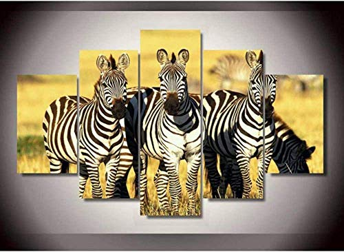 5 aufeinanderfolgende Gemälde Kunst Moderne Wandbilder Home Decoration Poster 5 Panel Tier Zebra Leinwand Modular Malerei Wohnzimmer HD gedruckt FACAI