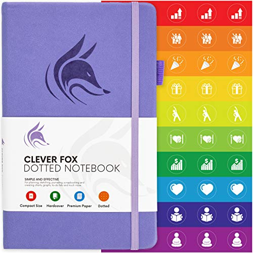 Clever Fox Dotted Notebook - Dot Grid Bullet Numbered Pages Hard Cover Notebook Journal With Thick 120g Paper and Pen Loop, Stickers, 3 Bookmarks, Smooth Faux Leather, 5.12'' x 8.27'' - Lavender
