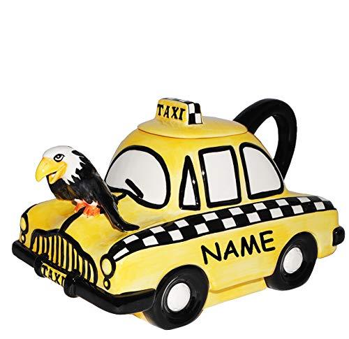 alles-meine.de GmbH Design - Kaffeekanne / Teekanne -  gelbes Taxi Auto  - incl. Name - stabil aus Porzellan / Keramik - mit Deckel & Henkel - für 2 Liter - Kaffee Tee Milch / ..