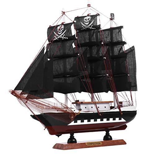 Wakauto Barco Pirata de Madera Modelo 3D Barco Negro Escultura Decoración Náutica para Niños Adultos Oficina Hogar Fiesta Pirata Decoración de Mesa