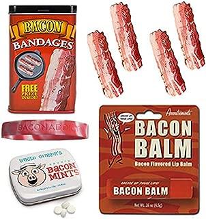 Bacon Bath & Grooming Kit Gift Pack (3pc Set + Wristband) - Bacon Bandages, Breath Mints & Lip Balm + Silicone Wristband
