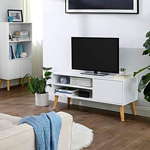 Cikonielf - Mobiletto TV bianco per intrattenimento e consolle – moderno e contemporaneo, per sala da pranzo o soggiorno, carico massimo 50 kg, 100 x 40 x 50 cm