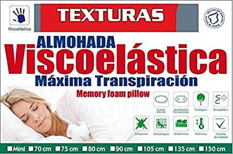 TEXTURAS HOME Secret Almohada VISCOELASTICA Aloe Vera Last Foam Tejido Aloe Vera con Hilo de Oro (Varios tamaños Disponibles) (Viaje (45X25))