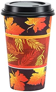 Party Dimensions Nicole 16 Count Hot/Cold Cup with Lid, Harvest Glow, 16-Ounce, Orange