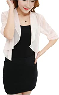 Andopa Womens Open Front Short Sleeve Lace Cropped Bolero Shrug