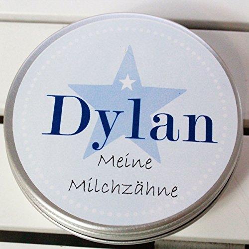 Zahndose mit Namen personalisiert für Mädchen & Jungen/Baby - Geschenk zur Geburt Taufe Einschulung (Zahndose Dylan)