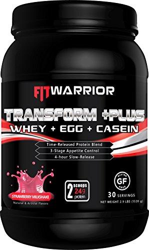TRANSFORM +PLUS Whey, Egg White, Milk & Casein Protein Blend [Strawberry Milkshake], 24g Protein, 2.9 Pound Powder, 30 Serving - Meal Replacement, Anti-Hunger 4hr Time-Release Appetite-Control Formula