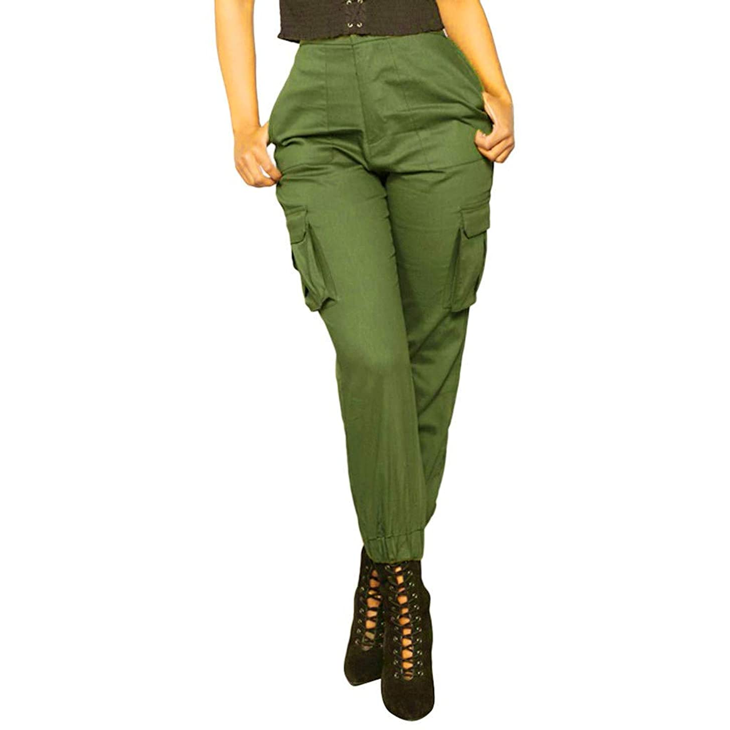F_topbu Women Casual Pants with Pockets Soild Trousers Sports Elastic Waistt Pants Overalls Pockets Cargo