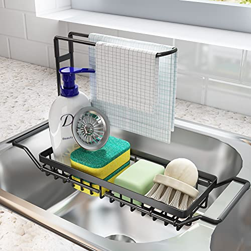SNTD Sink Caddy Sponge Holder Large XXL, Expandable Drying Rack Over Sink for Kitchen Dish Supplies/Sponge/Sink Plug/Rags/Brush, Black