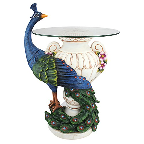 Design Toscano KY4128 Staverden Castle Peacock Glass Topped Side Table, 25 Inch, Full Color