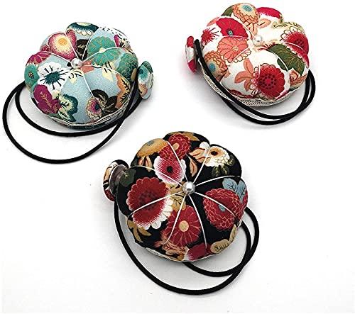 Miaison 3 piezas de cojín de costura con forma de calabaza, alfiletero de muñeca, almohada para máquina de coser, cojín de aguja con aguja, flor, artesanía hecha a mano, accesorios de costura