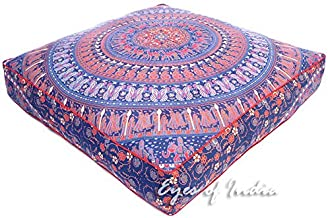 Eyes of India - 35 Large Oversized Blue Red Square Colorful Floor Meditation Pillow Cover Pouf Cushion Seating Mandala Indian Boho Dog Bed Cover ONLY