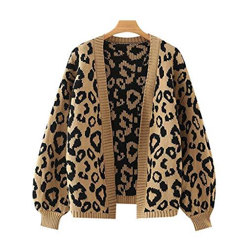 MQJ Donne Moda Modo Leopard Pattern Allentato Maglia Cardigan Maglione Vintage Lantern Sleeve Femminile Capispalla Chic Tops,S-Lunghezza-60Cm,S-Lunghezza-60Cm