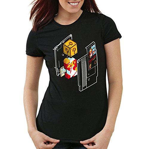 style3 Plumber Bros T-Shirt da Donna NES Snes Classic Mini 8-Bit Gamer Retro Classic, Colore:Nero, Dimensione:S