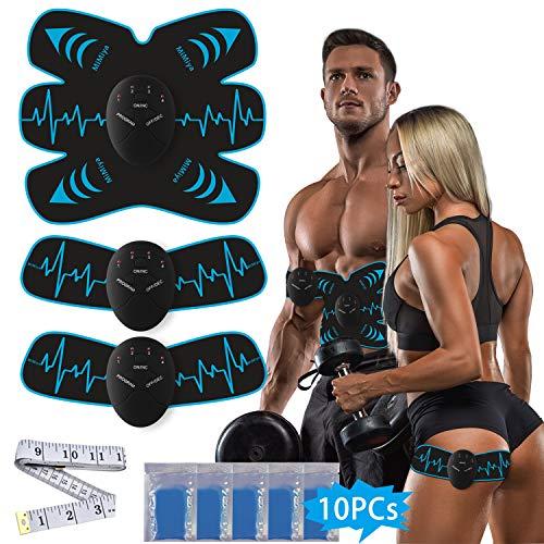 MiMiya Elettrostimolatore per Addominali Elettrostimolatore Muscolare EMS Stimolatore ABS Stimulator Muscolare Addominali Trainer per Braccio/Waist/Glutei/Gambe 6 modalità e 10 Livelli di Intensità