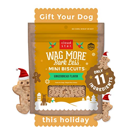 Cloud Star Wag More Bark Less, Grain Free Holiday Dog Lover Gifts Treats, Gingerbread, 7oz
