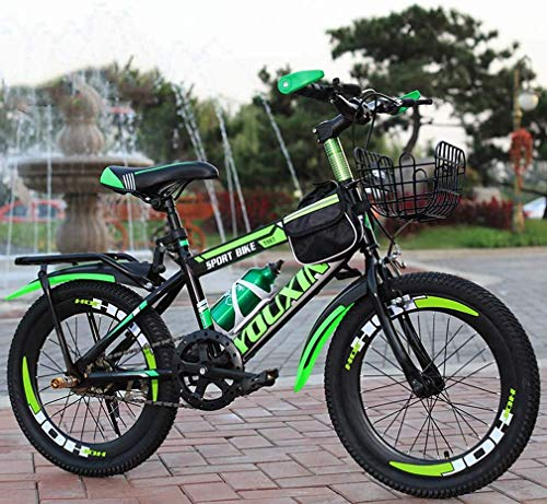 HCMNME Durable Bicycle Mountain Bike for Kids, Steel Frame Single Speed Kids Bike for 6-12 Years Old Boys Girls, Pupils Mountain Bicycle with Kettle and Back Seat & Basket,Green,22inch Alloy fra
