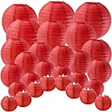 Supla 28 Pcs 5 Sizes Chinese New Year Decorative Red Paper Lanterns Hanging Chinese Japanese Lanterns Round Party Lanterns for Spring Festival Holiday Season Decorations