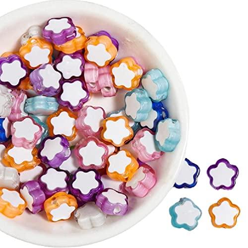 100 cuentas pequeñas de colores, cuentas oblatas acrílicas dispersas en la parte inferior, cuentas pequeñas de colores mezclados para enhebrar cuentas acrílicas planas con orificios sueltos para pulse