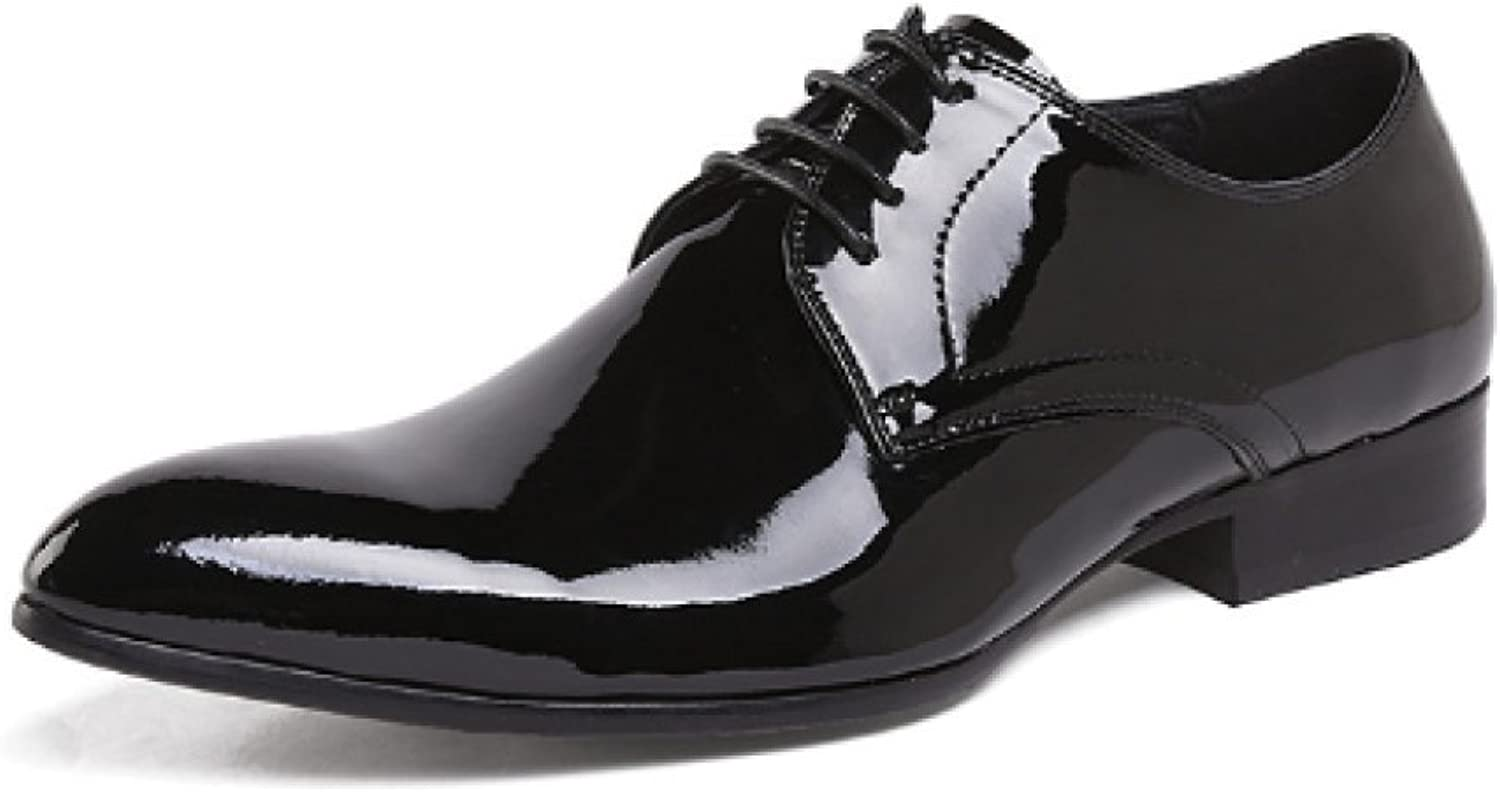 Trend, Lace-up shoes, Patent Leather, Small Round Head, Wedding shoes, Atmosphere, Low-top shoes, Wear-Resistant