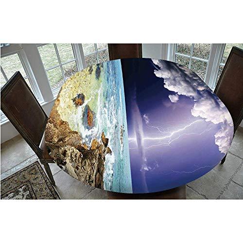 Mantel ajustable de poliéster con bordes elásticos, ideal para mesas ovaladas o Olbong de 122 x 172 cm, para cocina, comedor o mesa Decora