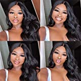 K'ryssma Natural Black Wig Long Wavy Body Wave Wig with Right Side Parting Synthetic Wigs for Women 24 inch