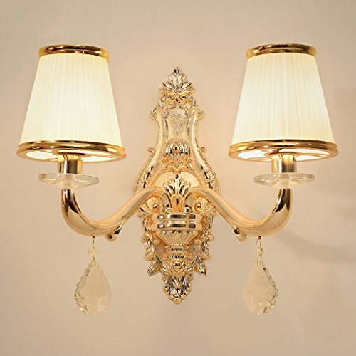 SKC Lighting-Applique murale Lampe de table à double tête en cristal européen balcon salon restaurant arrière-plan mur-aisle chambre à coucher lampe de chevet