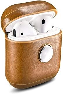iCarer Fidget Spinner Airpods Leather Vintage Case Gold Brown