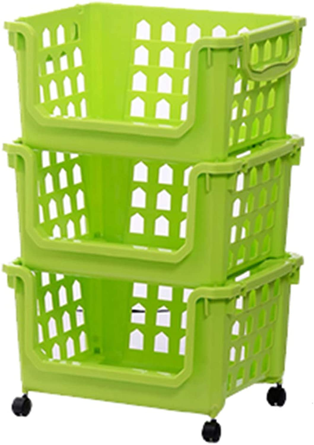 LXLA - Multipurpose Storage Rack Cart with Wheels, Plastic Utility Trolley with Detachable Basket (color   Green, Size   3-Tier)