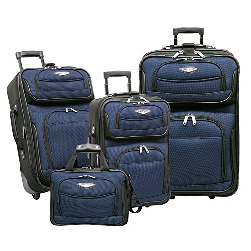 Travel Select Amsterdam Expandable Rolling Upright Luggage, Navy, 4-Piece Set