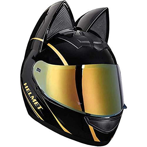 JLLXXG Cascos de Moto de Cara Completa para Mujer con Orejas de Gato Viseras abatibles para Adultos Casco de Motocross Casco Modular de Choque de Motocicleta Diseño Ligero