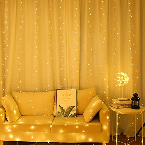 Galaxer LED Stern Vorhang Lichterkette 3 AA Batteriebetrieben, 3M Warmweiß Sternenhimmel Lichterkette mit 300 LED 8 Modi, Fee Led-String Fenster Lichter für Urlaubsparty