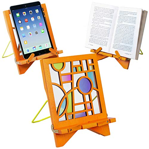 Architectural Series Wood Recipe Book Phone Holder eReader iPad Tablet Stand Rest Gift Idea - Orbit