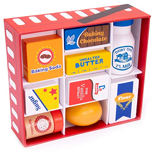 Bakers Mart Ingredient Set | Wooden Play Food Baking Groceries | Includes Baking Soda, Chocolate, Milk, Sugar, Vanilla, Flour, Sprinkles, Butter and Egg | Pretend Play Food Kitchen Accessories