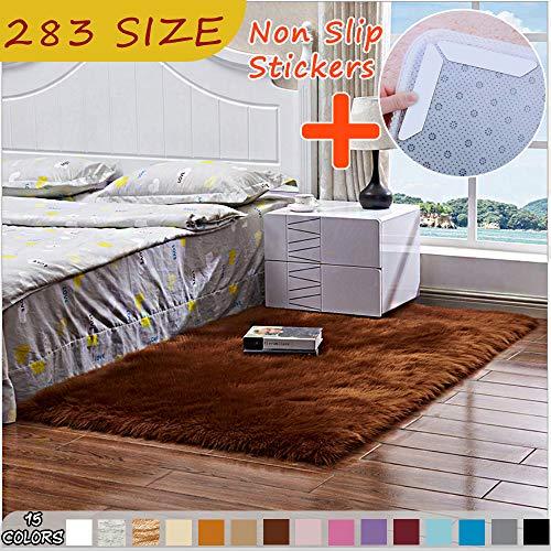 MODKOY Kashmir Teppich Waschbar Pflegeleicht Prime Shaggy Flachflor rutschfest Hochflor Langflor Flauschig Weiche Gemütliches Longhair für Schlafzimmer Sofa 100x140cm Braun tragen