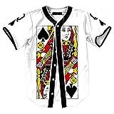 SAINDERMIRA Unisexe 3D Imprimé Chemise Rue de la Culture Baseball Jersey Shirt Maillot(Poker Q,L)